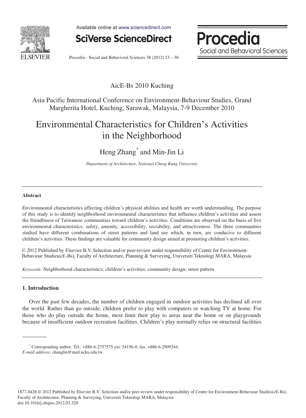 Environmental Characteristics for Children's Activities in
