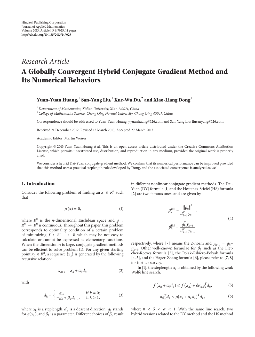 A Globally Convergent Hybrid Conjugate Gradient Method and