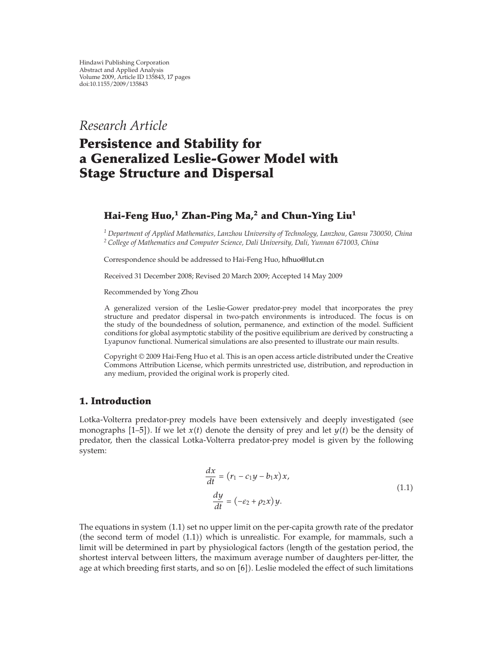 Persistence and Stability for a Generalized Leslie-Gower Model with
