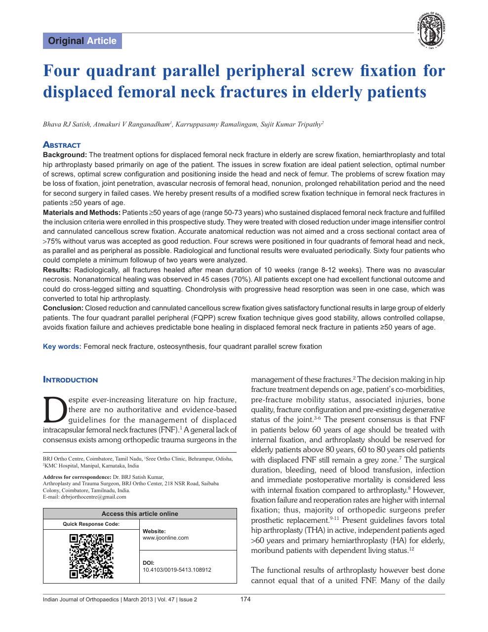 Four quadrant parallel peripheral screw fixation for