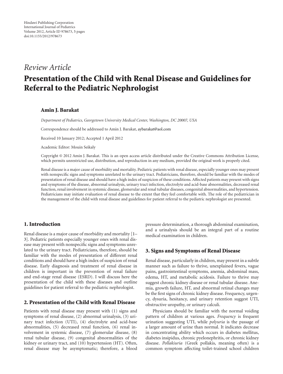 Presentation of the Child with Renal Disease and Guidelines
