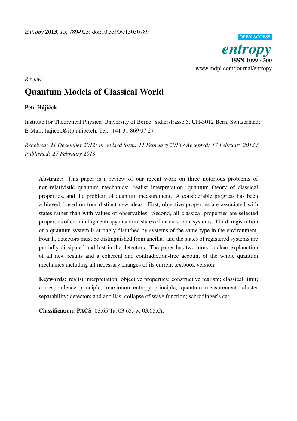 Quantum Models of Classical World – topic of research paper