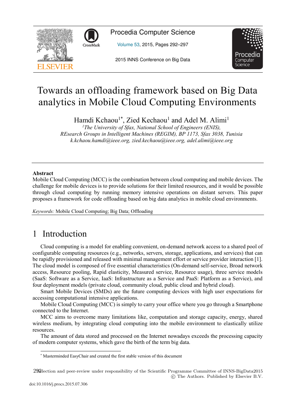 Towards an Offloading Framework based on Big Data Analytics in
