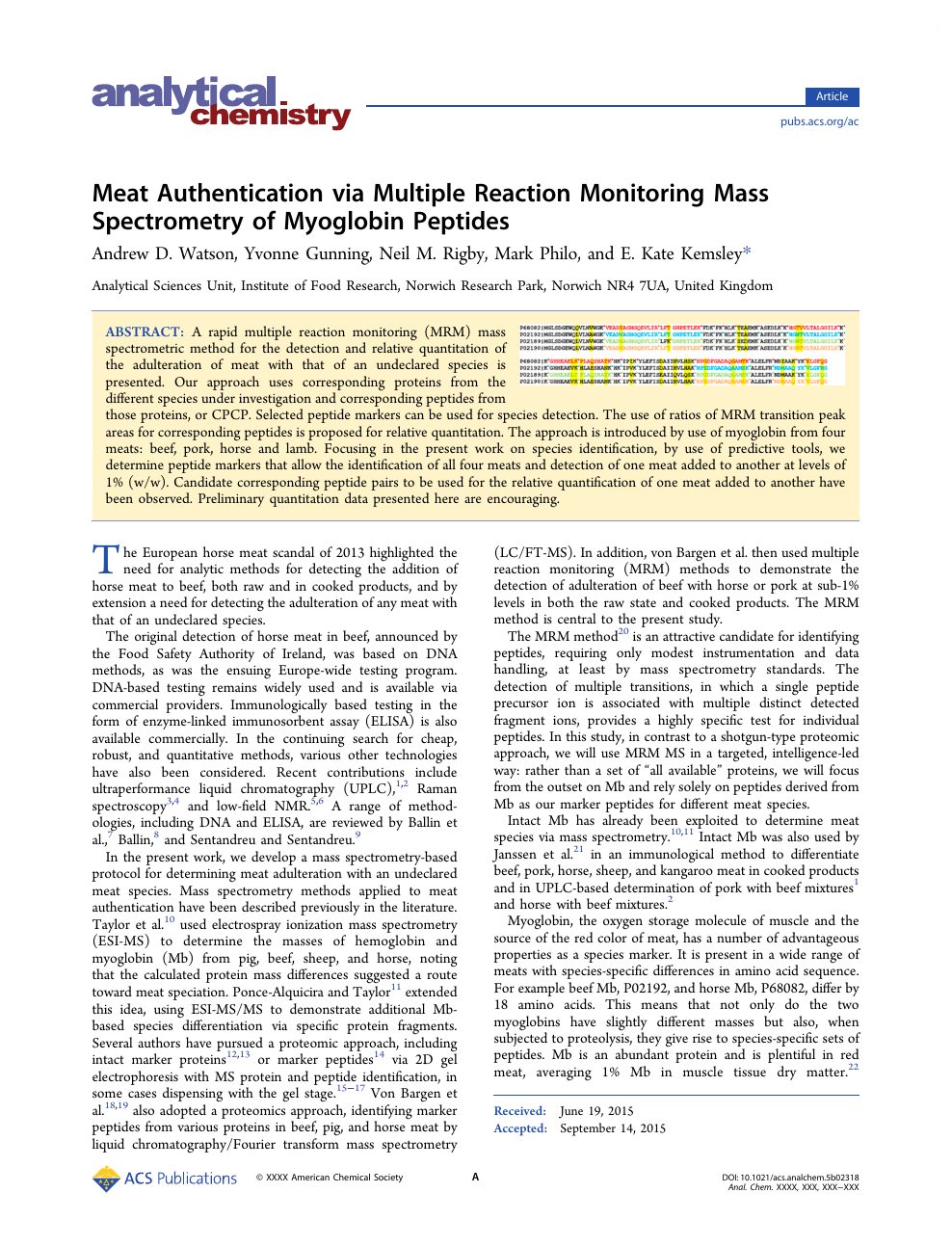 Meat Authentication via Multiple Reaction Monitoring Mass