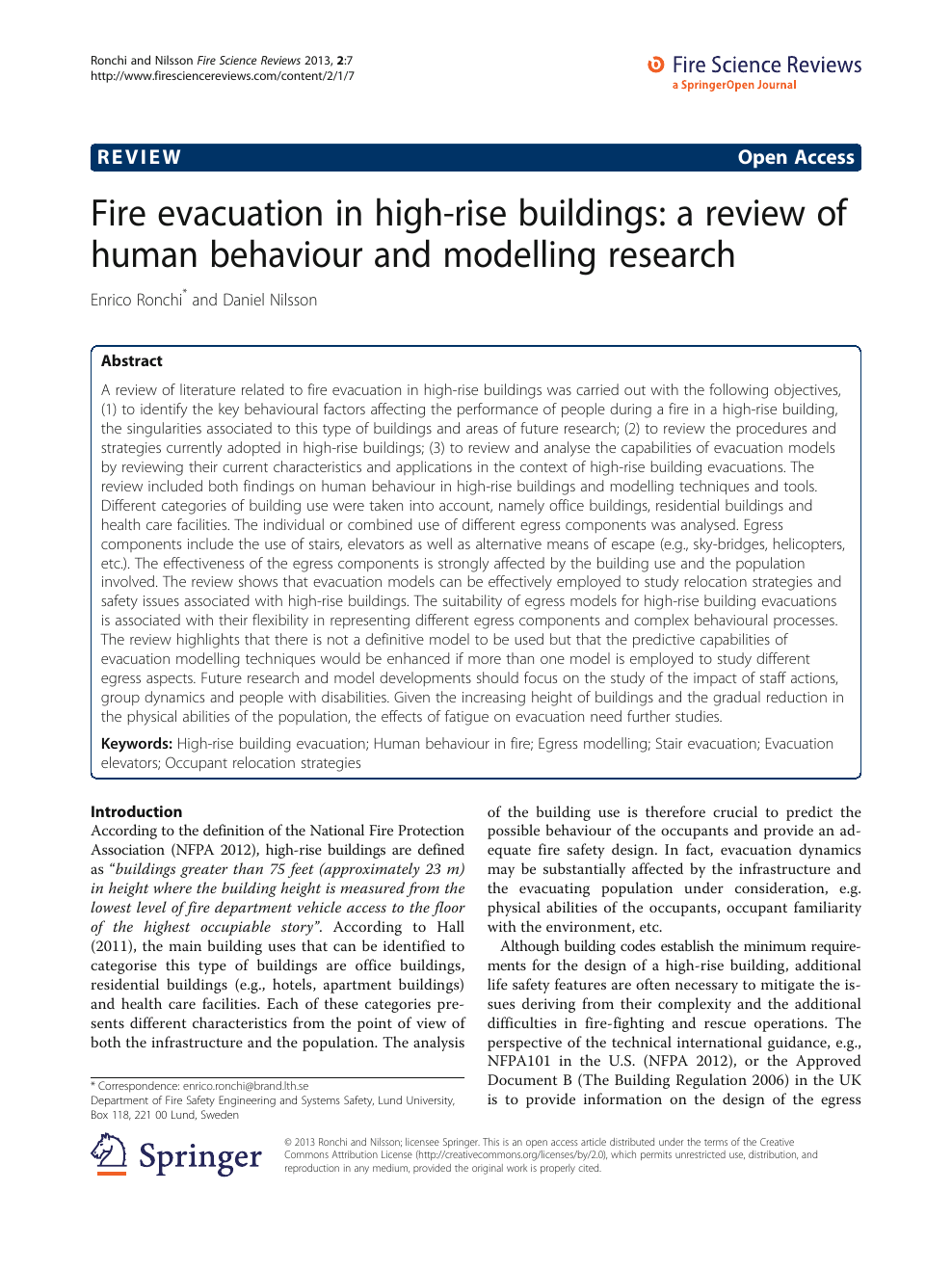 Fire evacuation in high-rise buildings: a review of human