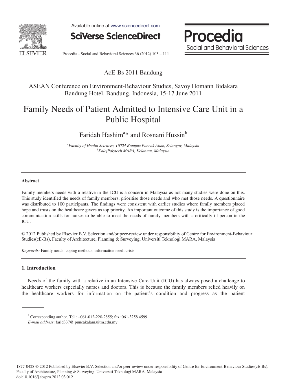 Family Needs of Patient Admitted to Intensive Care Unit in a