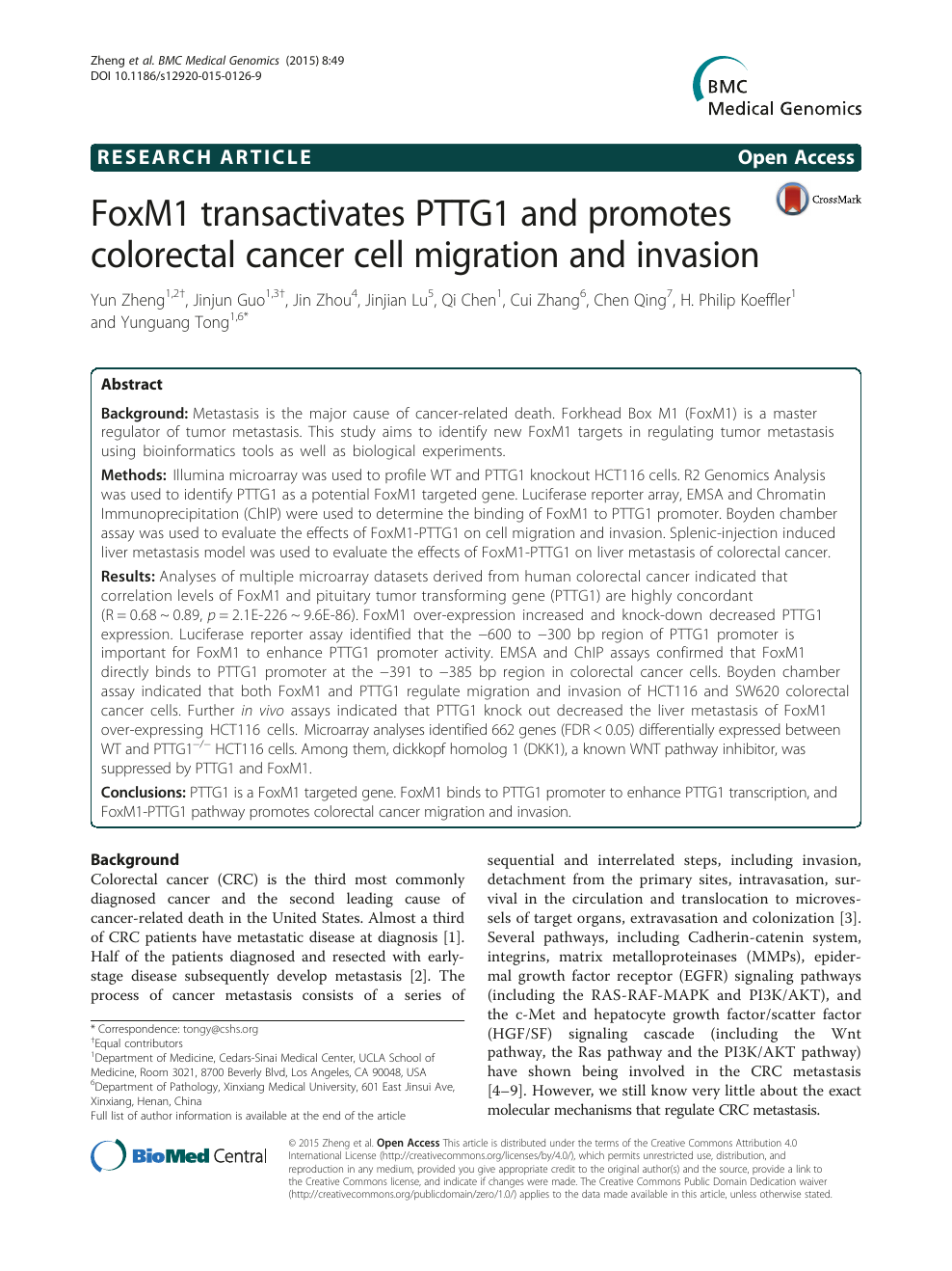 FoxM1 transactivates PTTG1 and promotes colorectal cancer cell