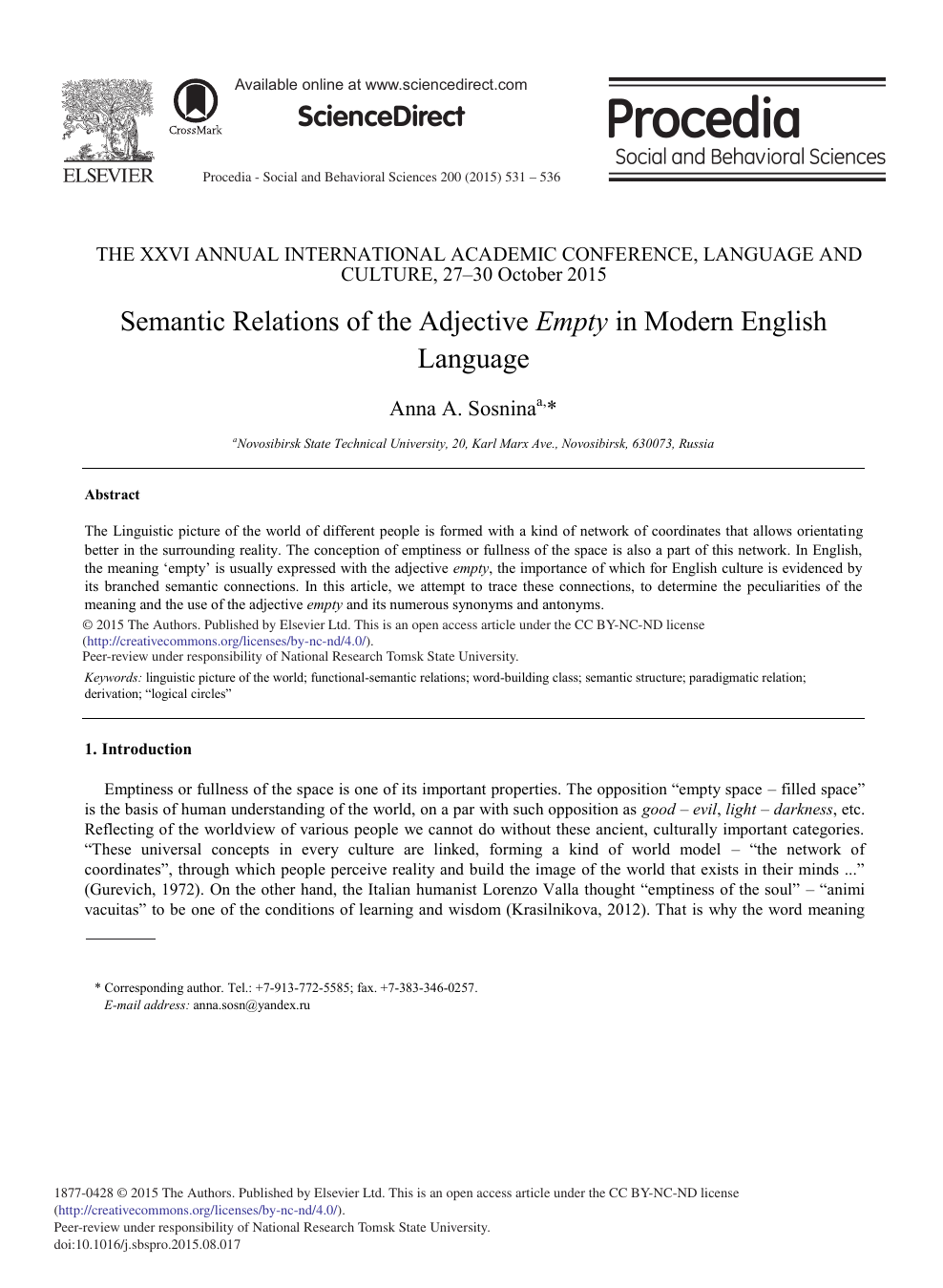 Semantic Relations of the Adjective Empty in Modern English Language