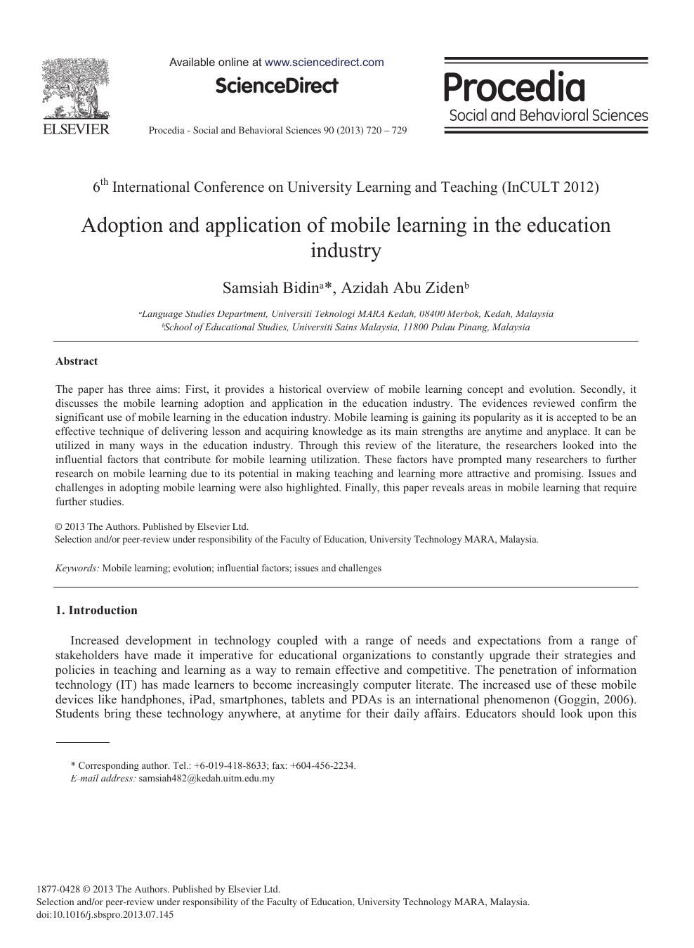 Adoption and Application of Mobile Learning in the Education