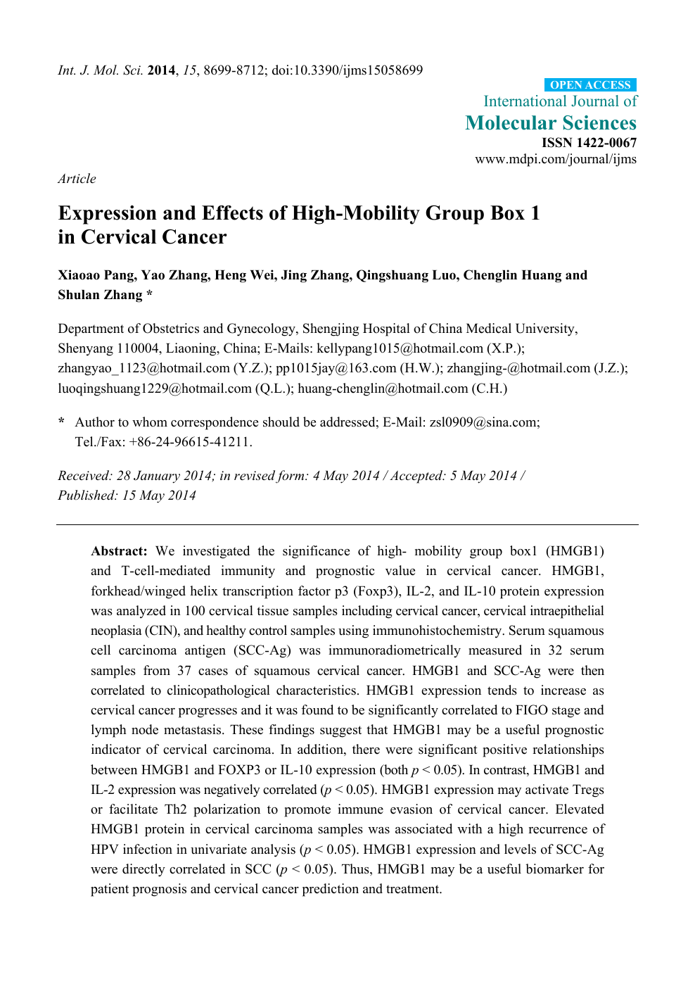 Expression and Effects of High-Mobility Group Box 1 in Cervical