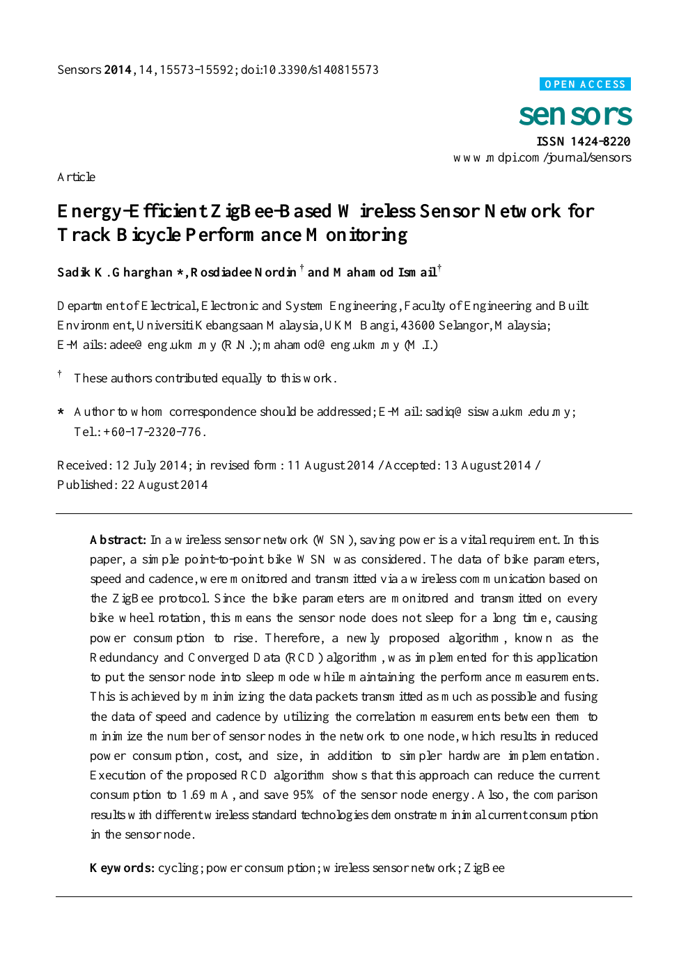 Energy-Efficient ZigBee-Based Wireless Sensor Network for Track