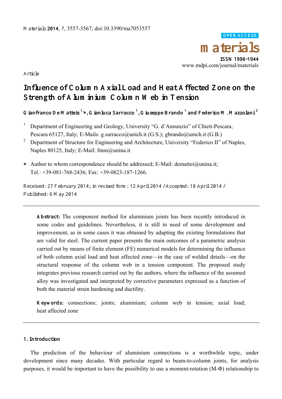 Influence of Column Axial Load and Heat Affected Zone on the