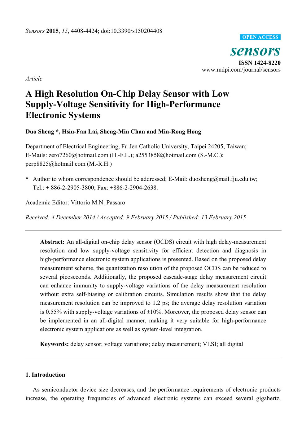 A High Resolution On Chip Delay Sensor With Low Supply Voltage Sensitivity For High Performance Electronic Systems Topic Of Research Paper In Electrical Engineering Electronic Engineering Information Engineering Download Scholarly Article Pdf And Read