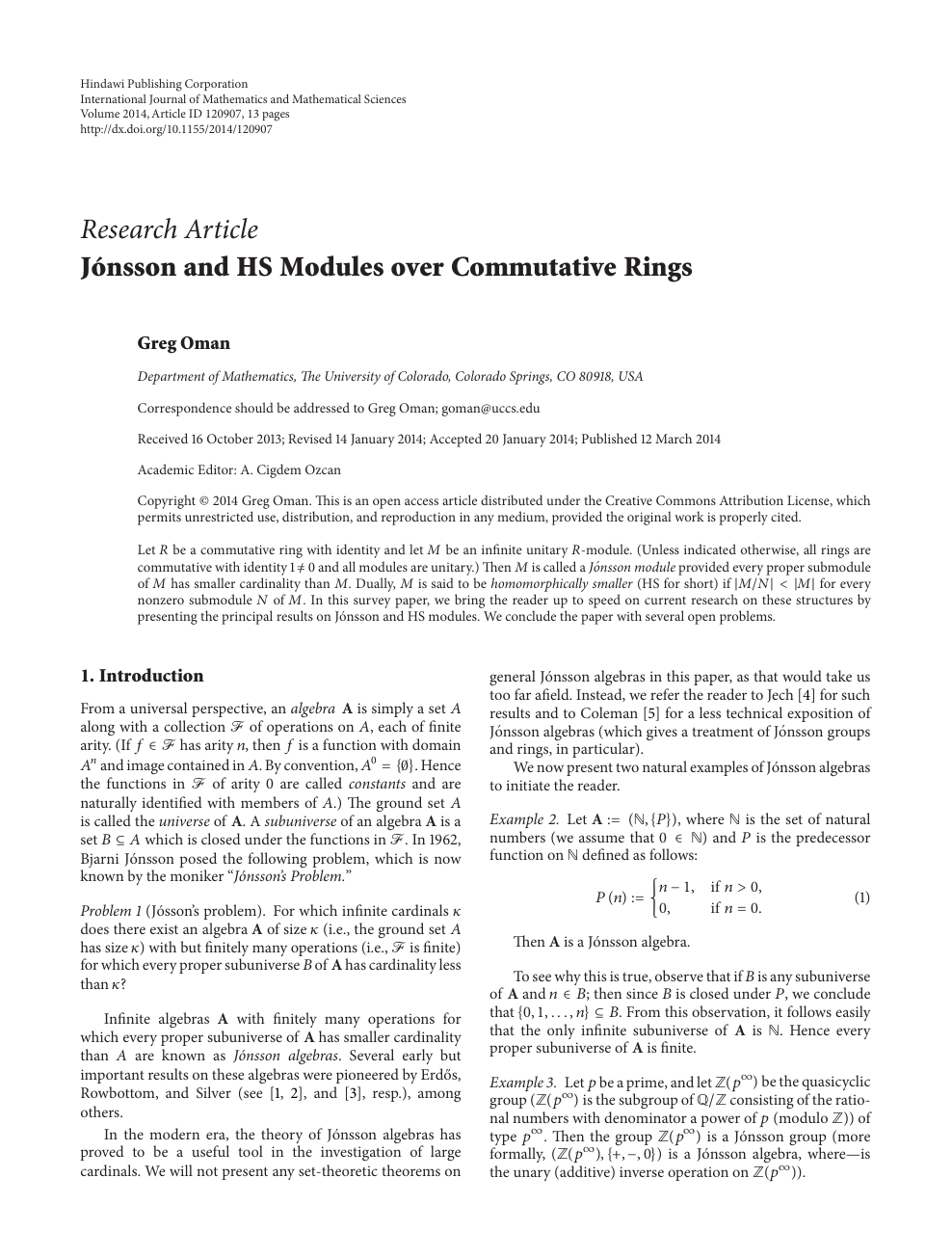 Jónsson and HS Modules over Commutative Rings – topic of research