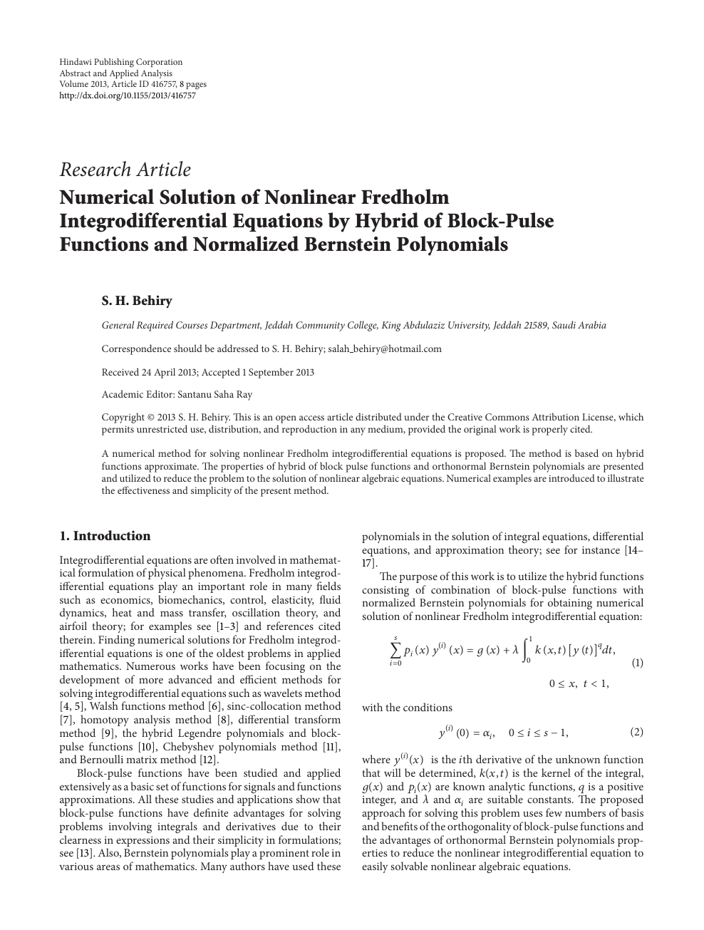 Numerical Solution of Nonlinear Fredholm Integrodifferential