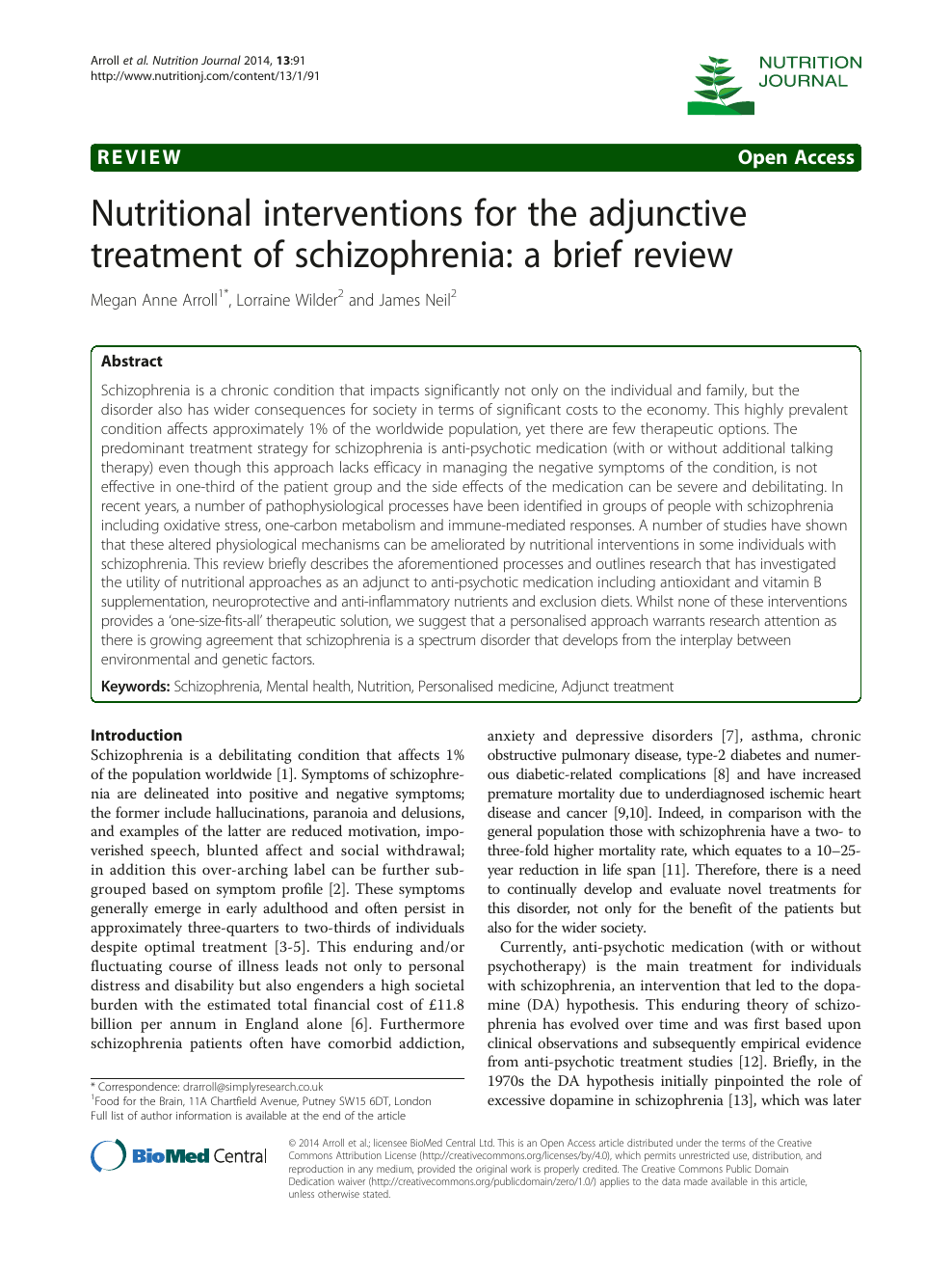 Nutritional interventions for the adjunctive treatment of