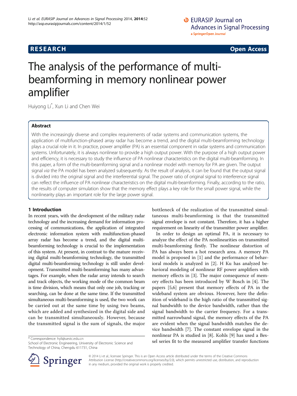 The analysis of the performance of multi-beamforming in memory