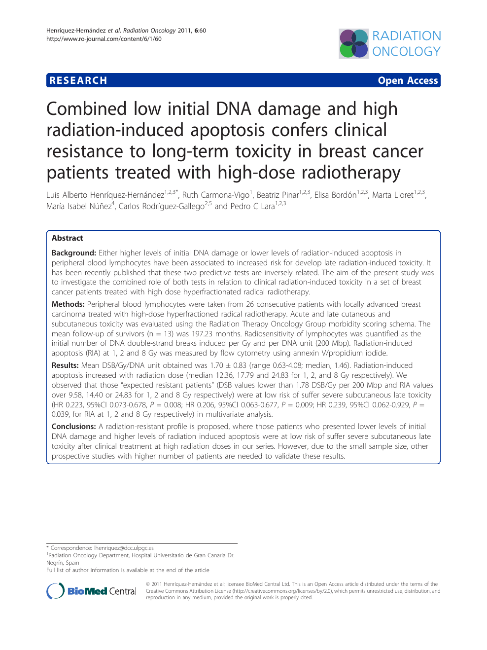 Combined low initial DNA damage and high radiation-induced apoptosis
