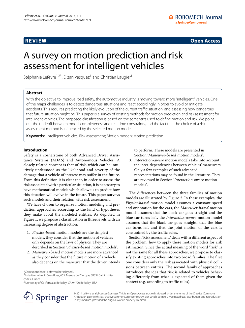 A survey on motion prediction and risk assessment for intelligent