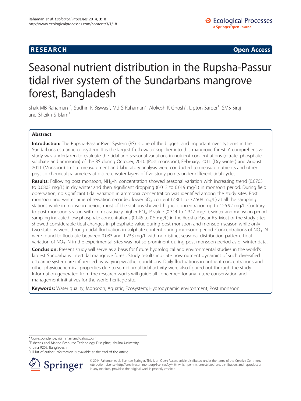 Seasonal nutrient distribution in the Rupsha-Passur tidal