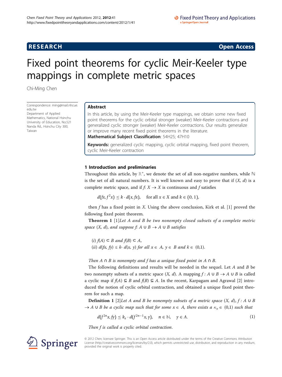 Fixed Point Theorems For Cyclic Meir Keeler Type Mappings In
