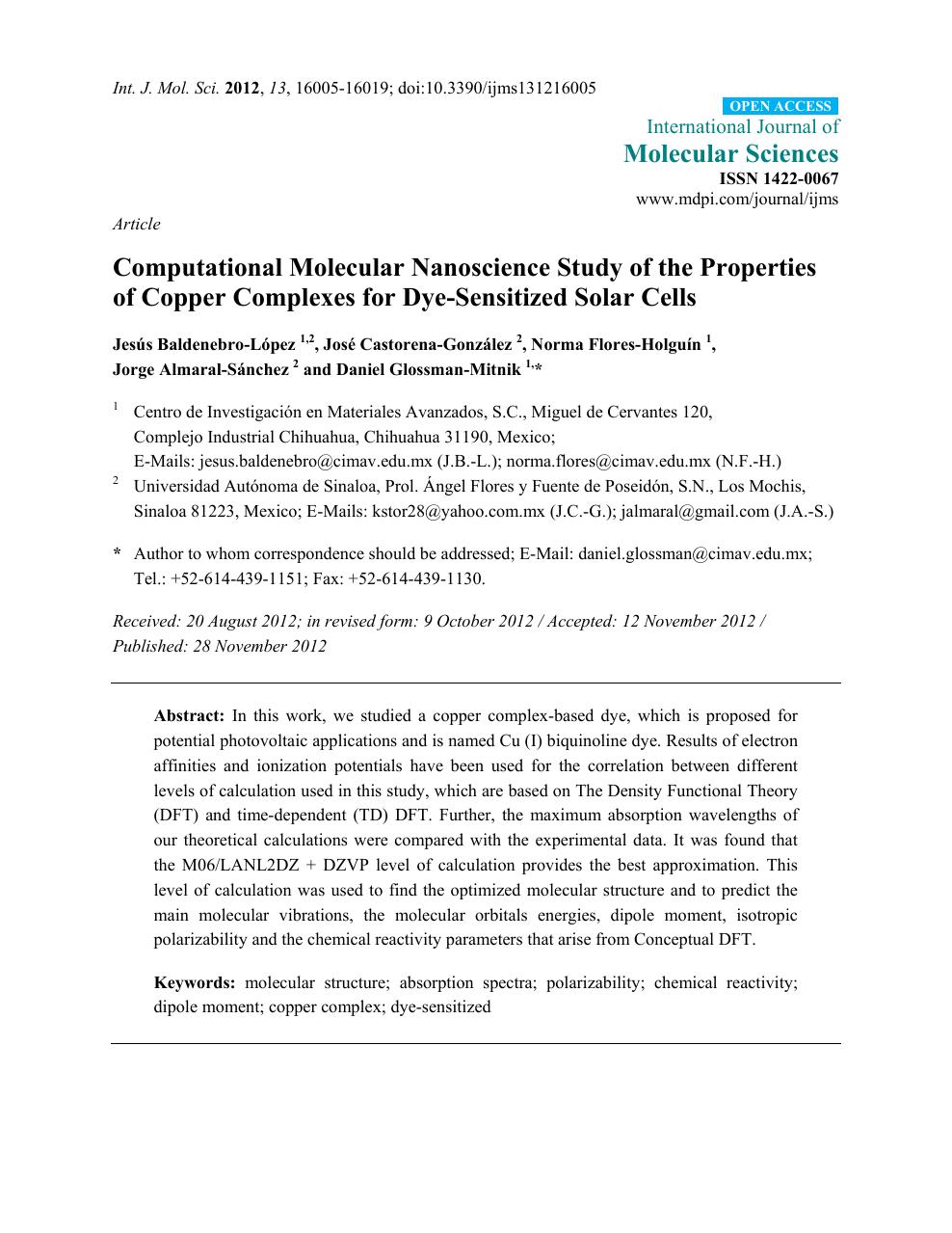 Computational Molecular Nanoscience Study of the Properties