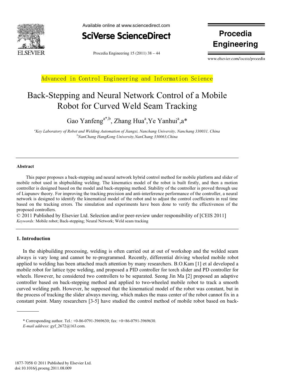 Back-Stepping and Neural Network Control of a Mobile Robot