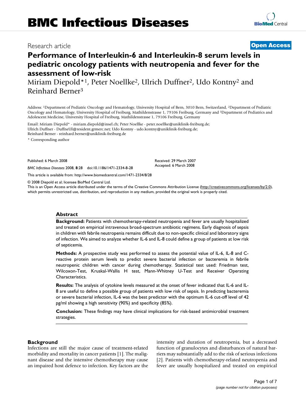 Performance of Interleukin-6 and Interleukin-8 serum levels