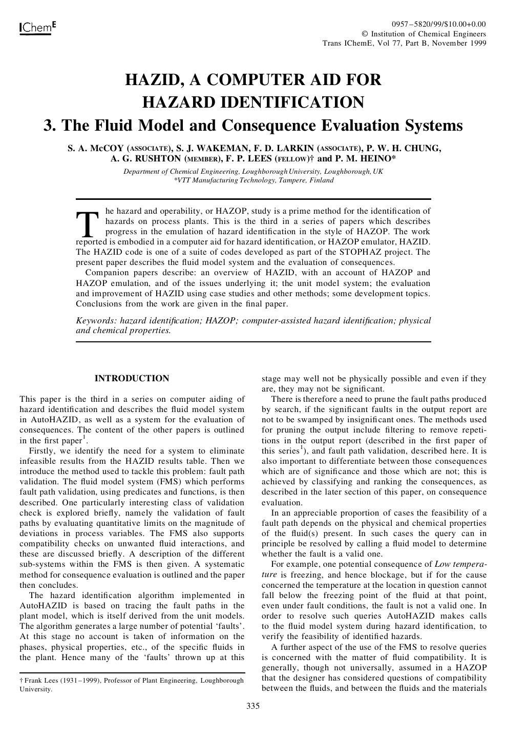HAZID, A Computer Aid for Hazard Identification – topic of research
