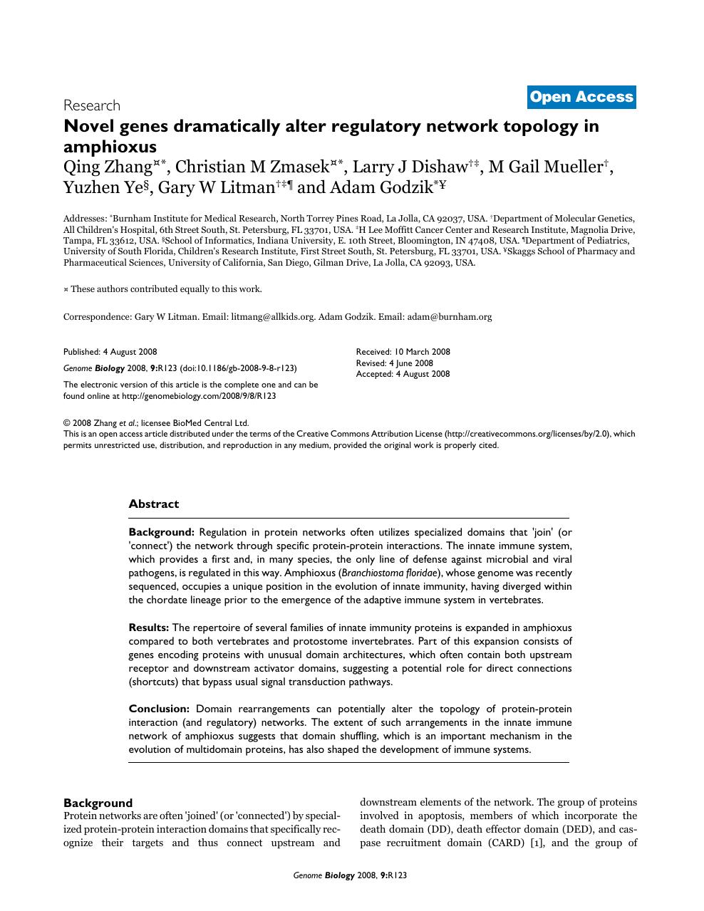 Novel genes dramatically alter regulatory network topology