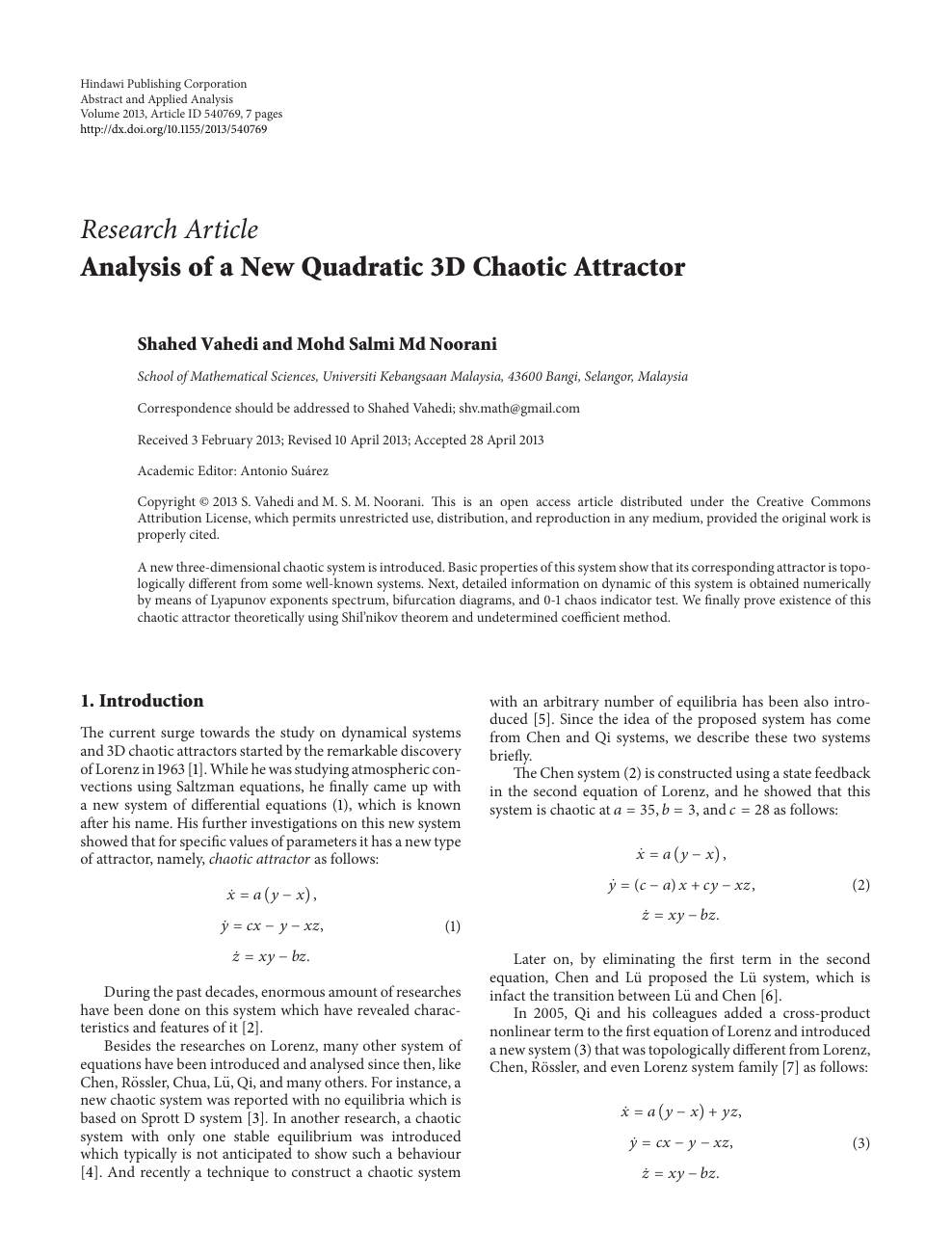 Analysis of a New Quadratic 3D Chaotic Attractor – topic of