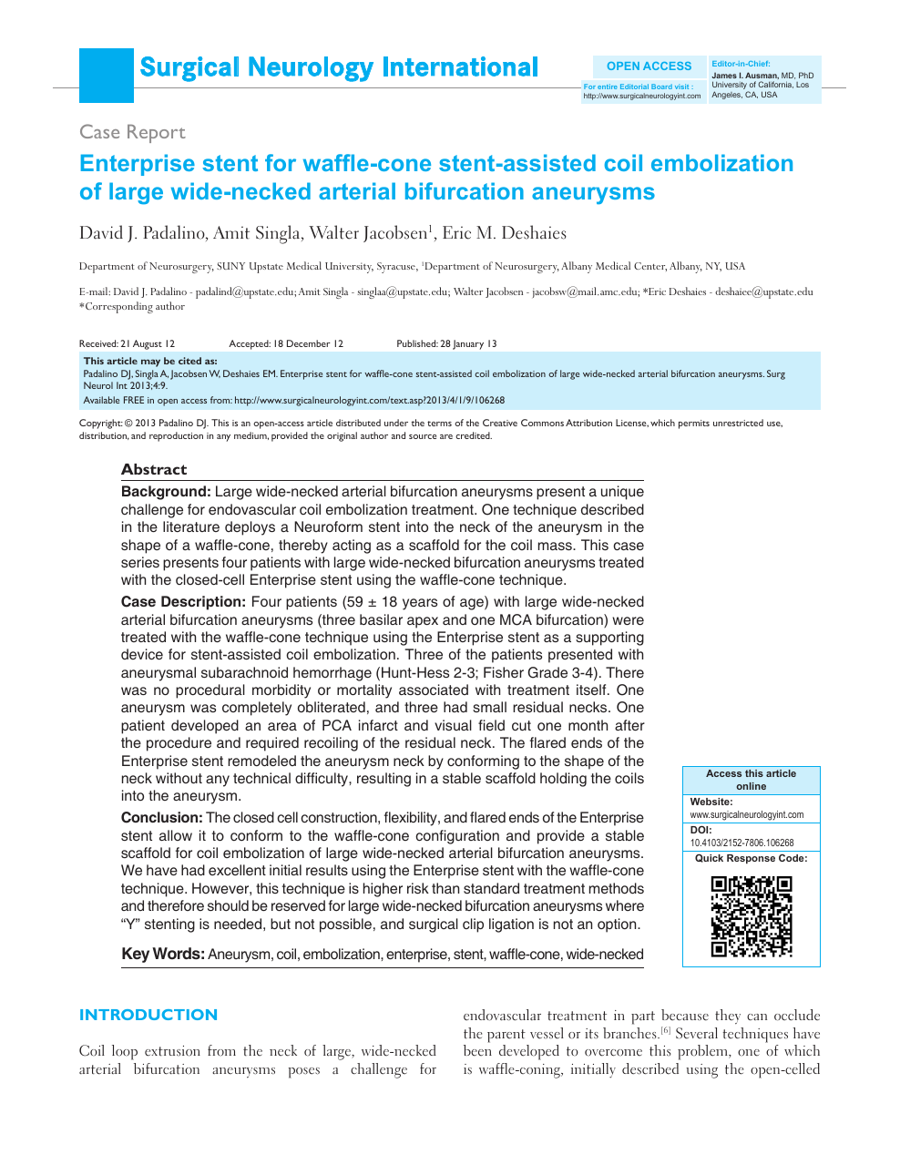 Enterprise stent for waffle-cone stent-assisted coil embolization of