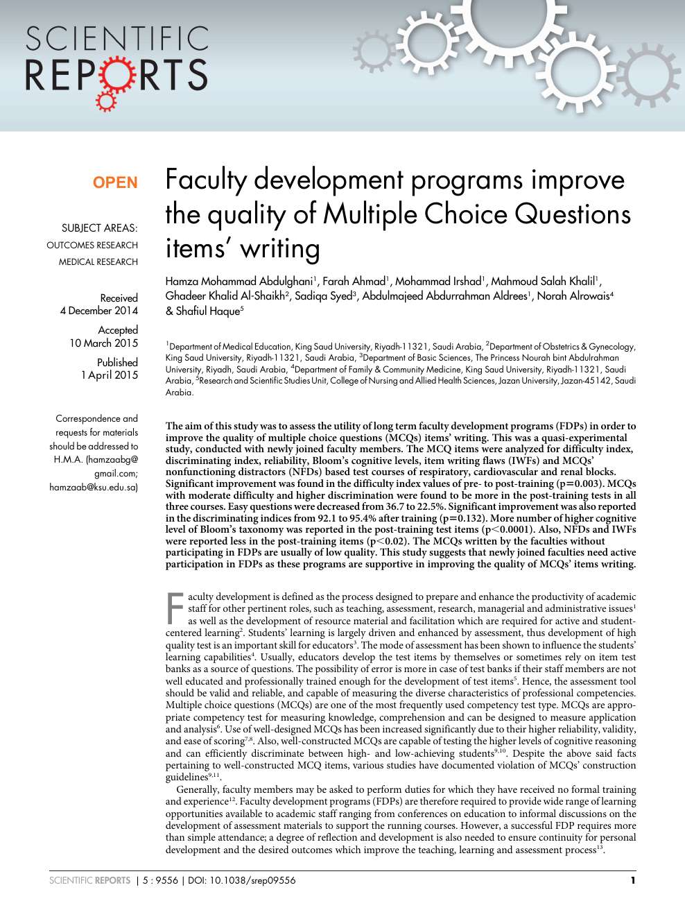 Faculty development programs improve the quality of Multiple