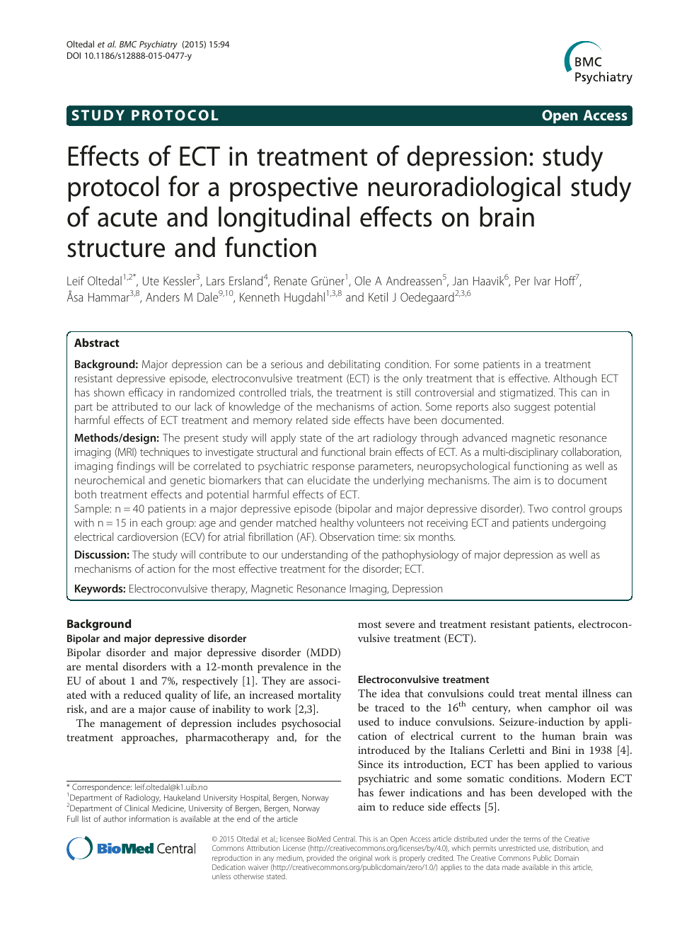 Effects of ECT in treatment of depression: study protocol for a prospective  neuroradiological study of acute and longitudinal effects on brain  structure and function – topic of research paper in Clinical medicine.