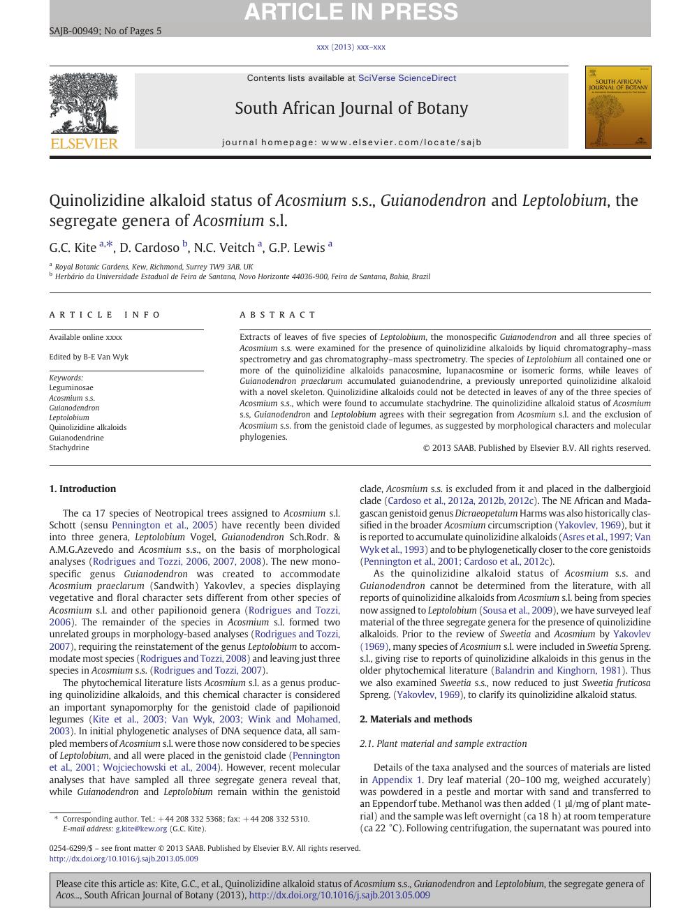 Quinolizidine alkaloid status of Acosmium s s