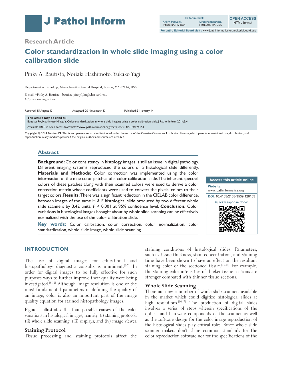 Color standardization in whole slide imaging using a color
