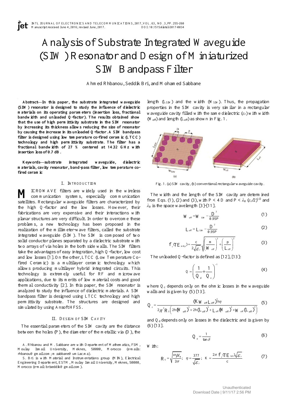 Analysis of Substrate Integrated Waveguide (SIW) Resonator and