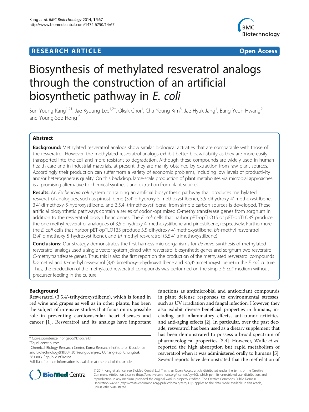 Biosynthesis Of Methylated Resveratrol Analogs Through The Construction Of An Artificial Biosynthetic Pathway In E Coli Topic Of Research Paper In Biological Sciences Download Scholarly Article Pdf And Read For Free