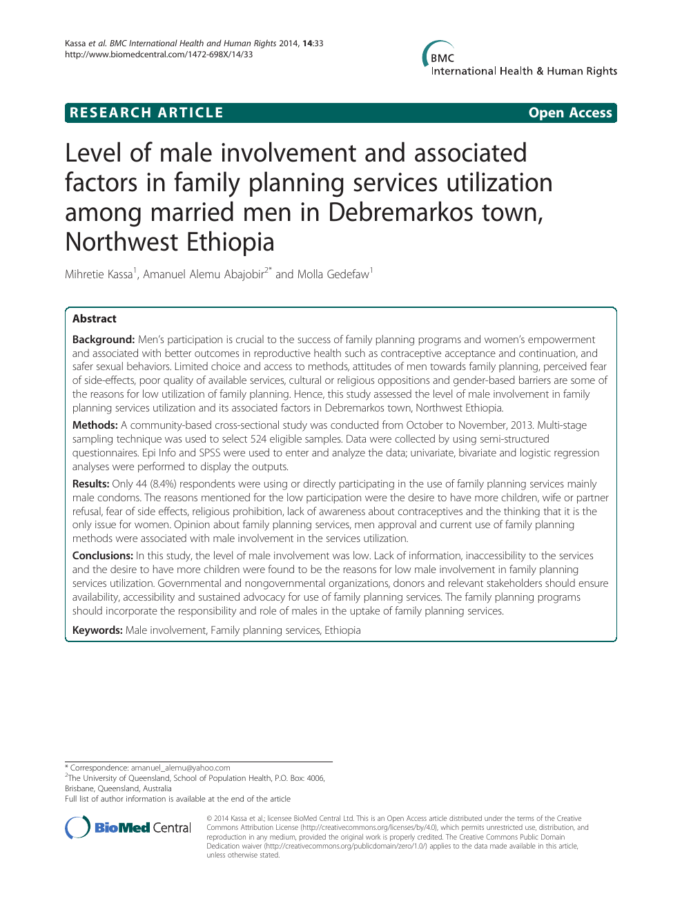 Level of male involvement and associated factors in family planning