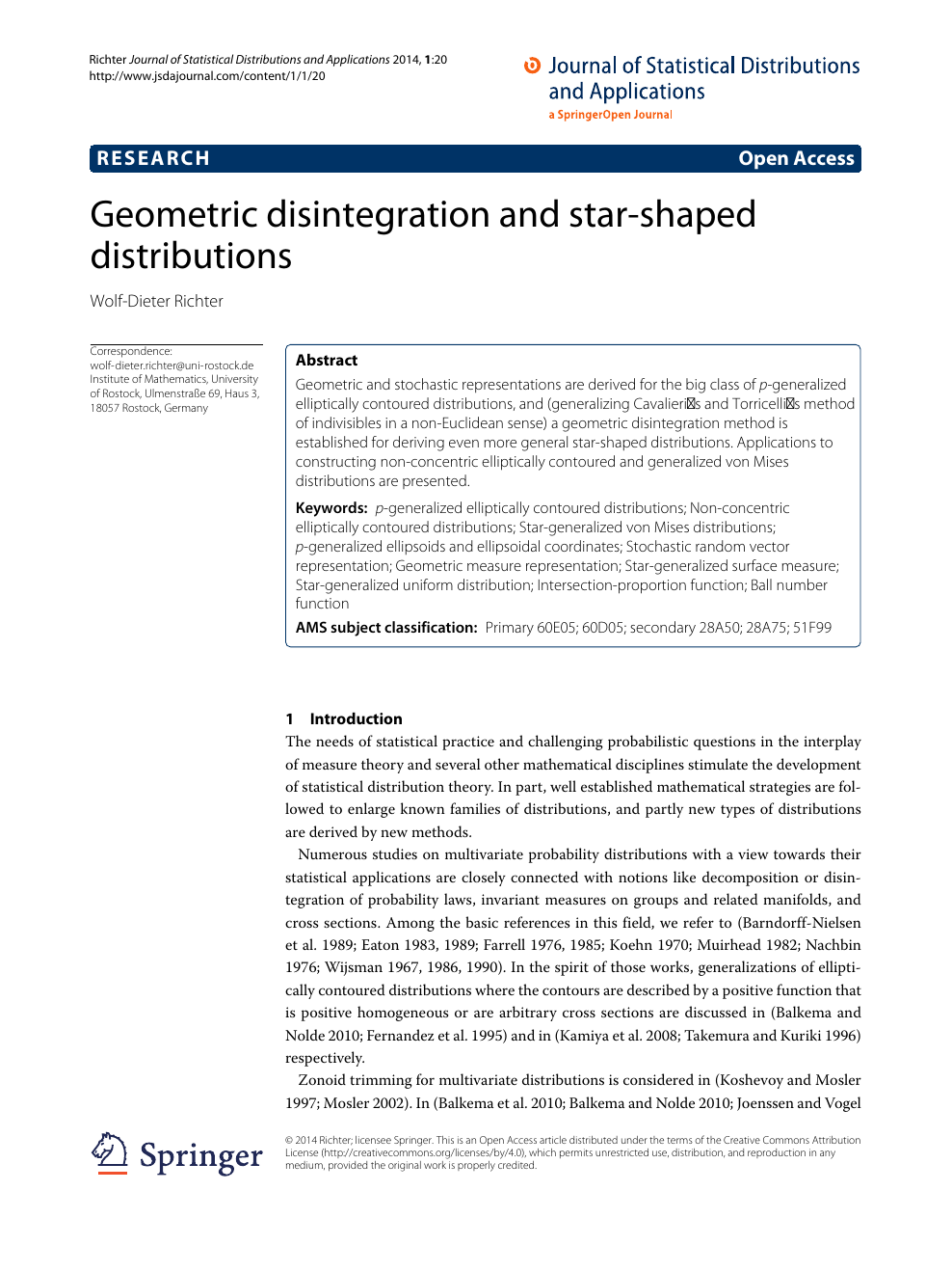 Geometric disintegration and star-shaped distributions