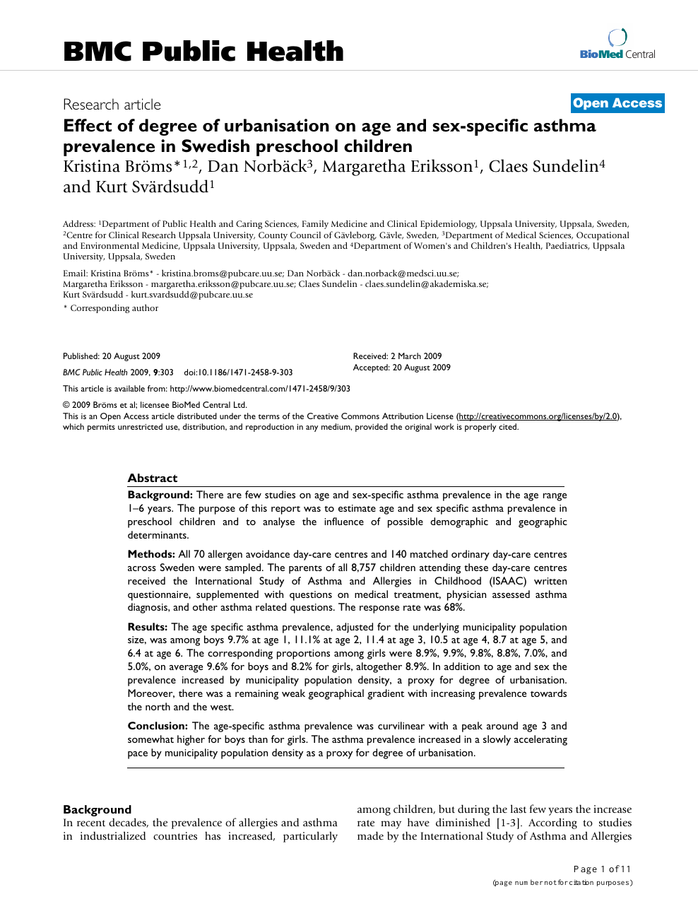 Effect of degree of urbanisation on age and sex-specific