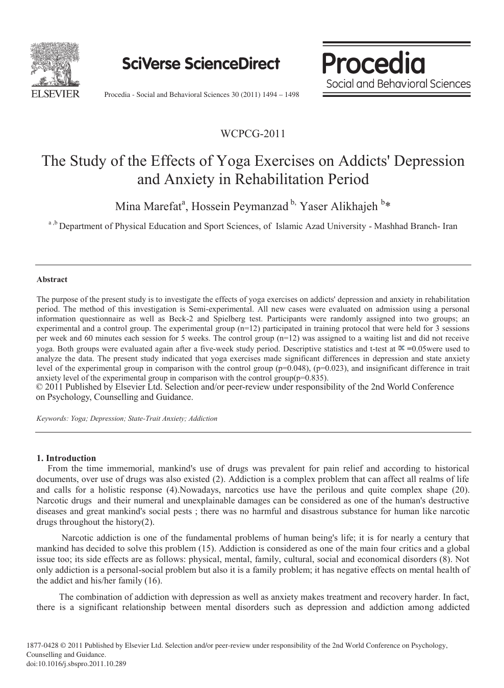 The Study of the Effects of Yoga Exercises on Addicts