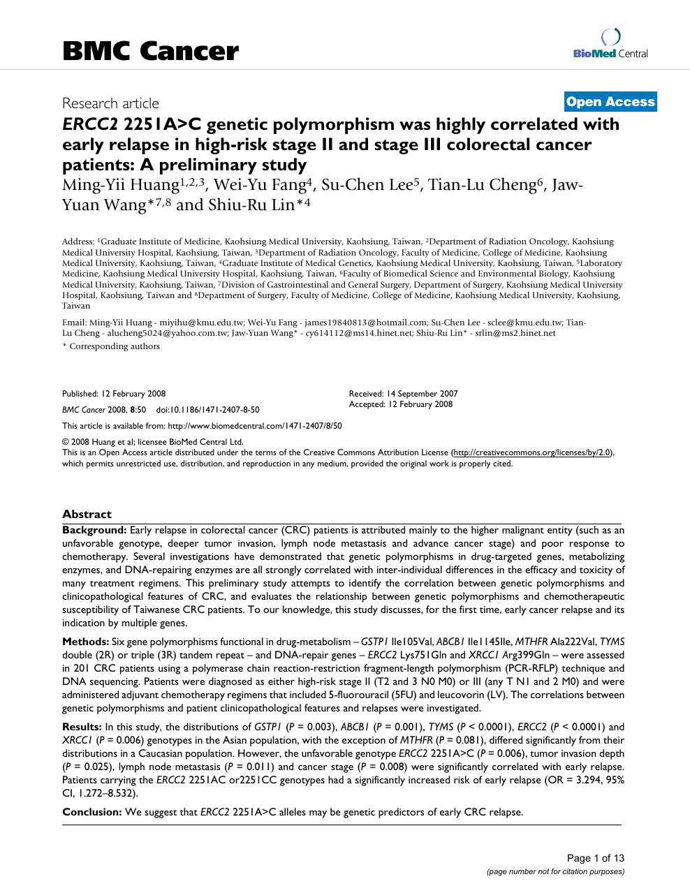 ERCC2 2251A>C genetic polymorphism was highly correlated with early
