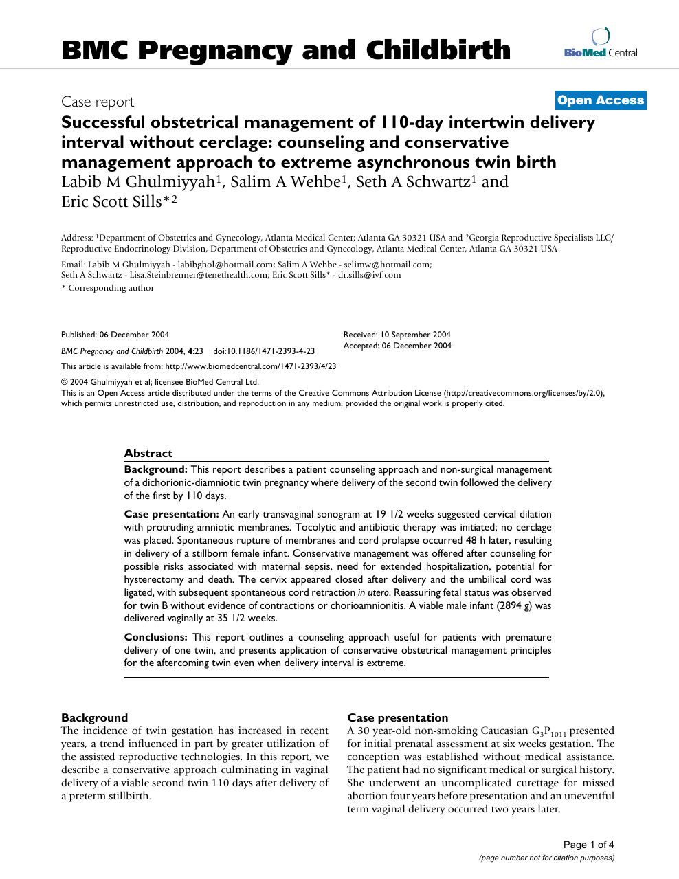 Successful obstetrical management of 110-day intertwin delivery