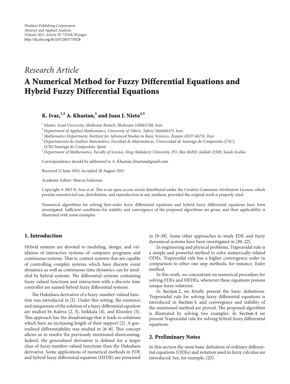 A Numerical Method for Fuzzy Differential Equations and