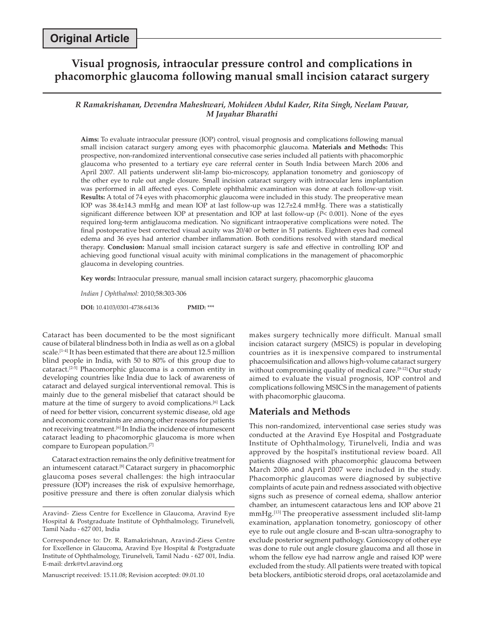 Visual Prognosis Intraocular Pressure Control And Complications In