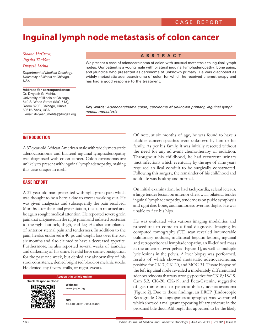 Inguinal lymph node metastasis of colon cancer – topic of research