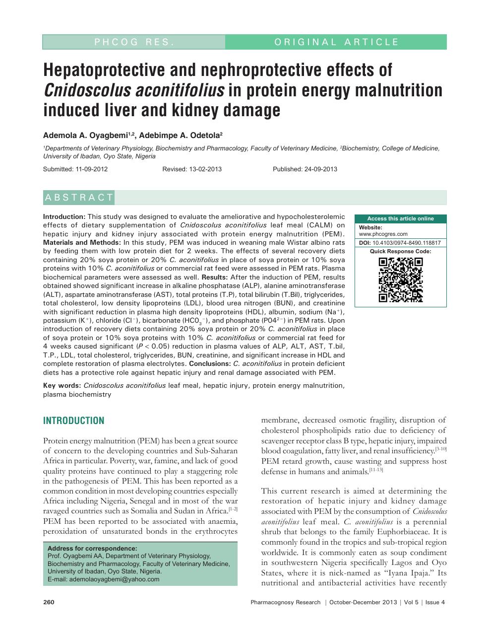 literature review of cnidoscolus aconitifolius