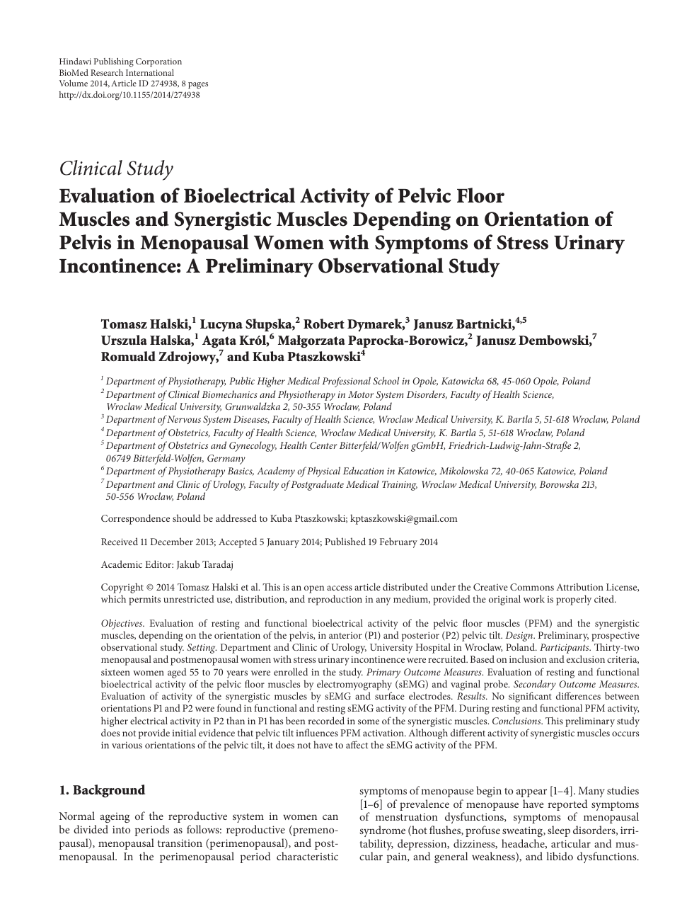 Evaluation of Bioelectrical Activity of Pelvic Floor Muscles