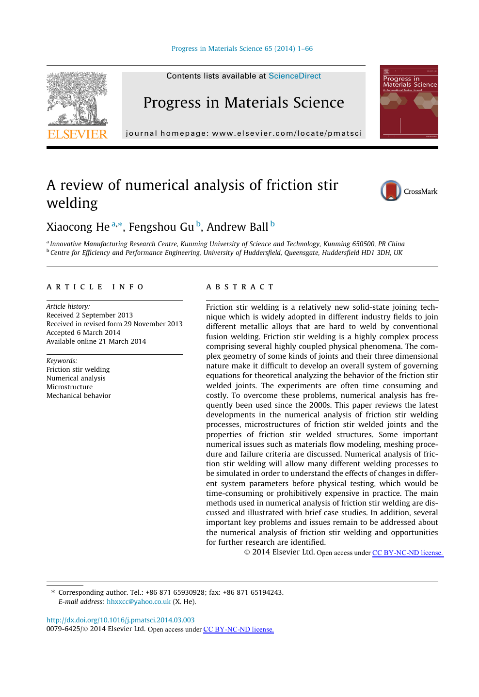 A review of numerical analysis of friction stir welding – topic of